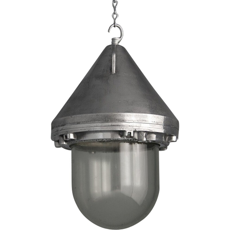 "Heyes & Co ""The Wigan"" industrial ceiling lamp in aluminium - 1950s"