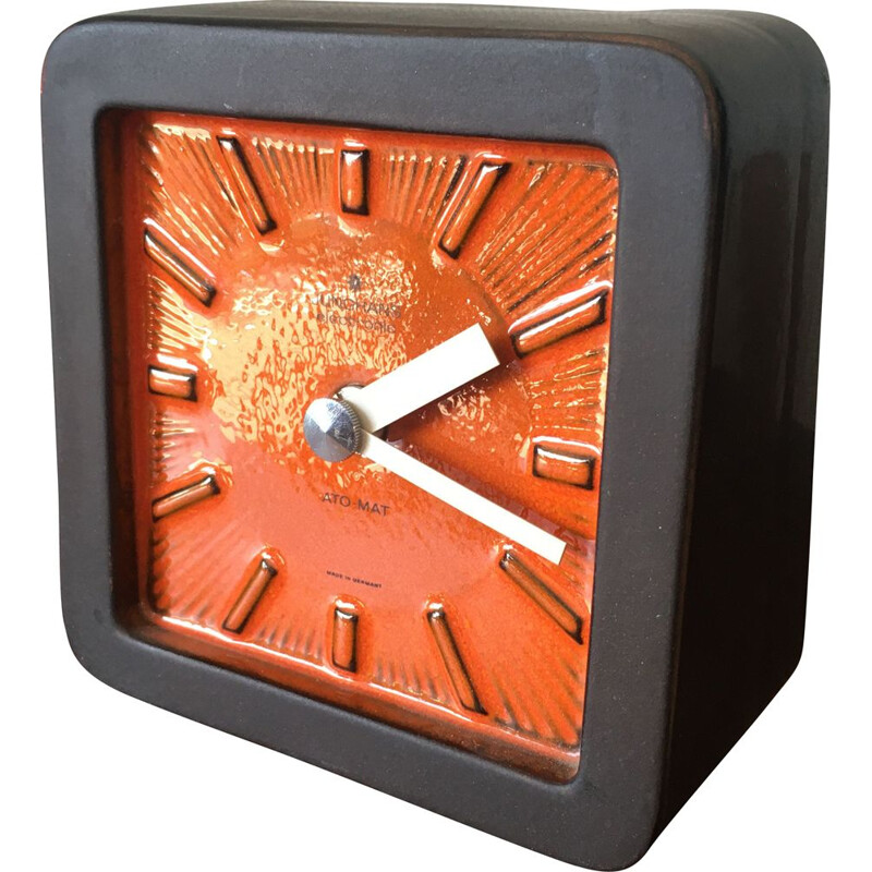 Table Clock, Mid-Century, Ceramic Ato-Mat by Junghans