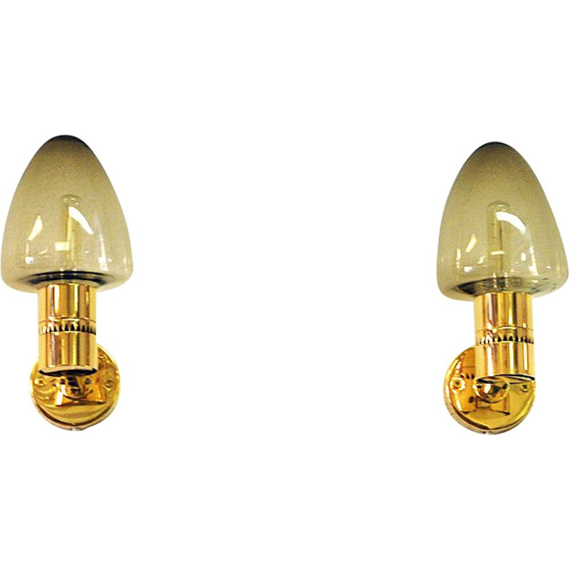 Wall lamps V-220 by Hans-Agne Jakobsson Sweden Glass and Brass 1950s