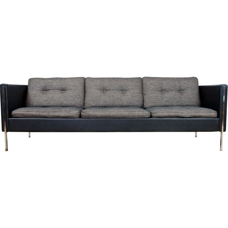Sofa vintage in grey fabric and black leather Pierre Paulin 442