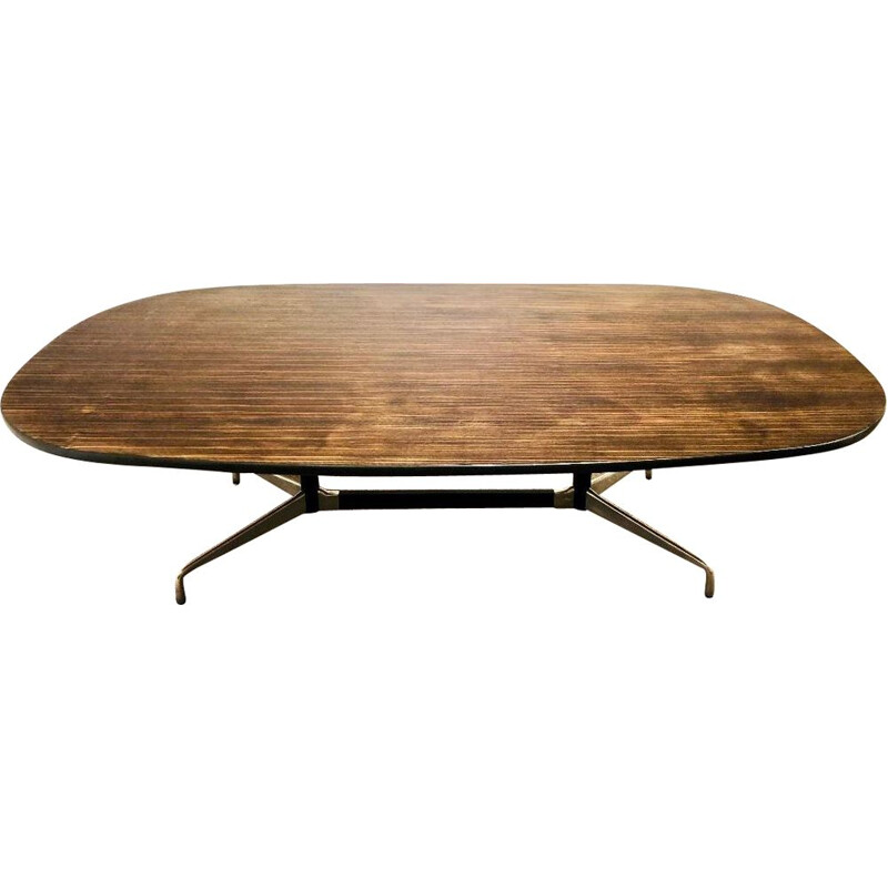 Vintage wooden table Eames in zebrano veneer