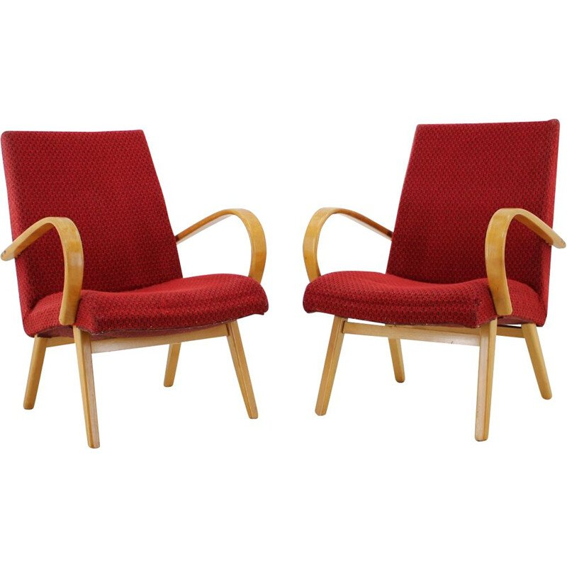 Pair of Lounge chair ThonThonet Bentwood, 1960s