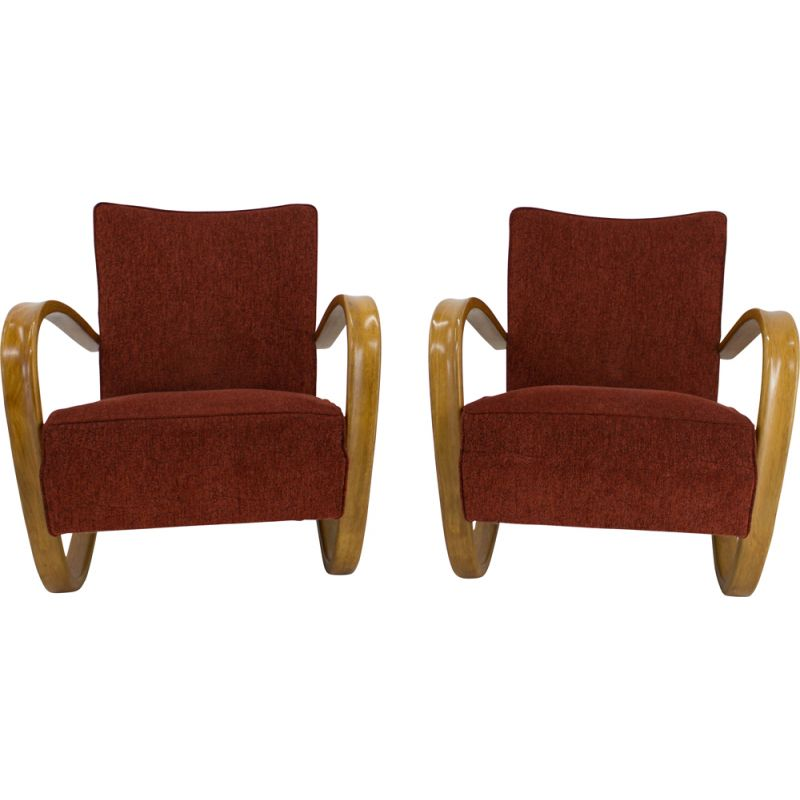 Set of 2 Armchairs vintage H 269 by Jindrich Halabala, 1940s