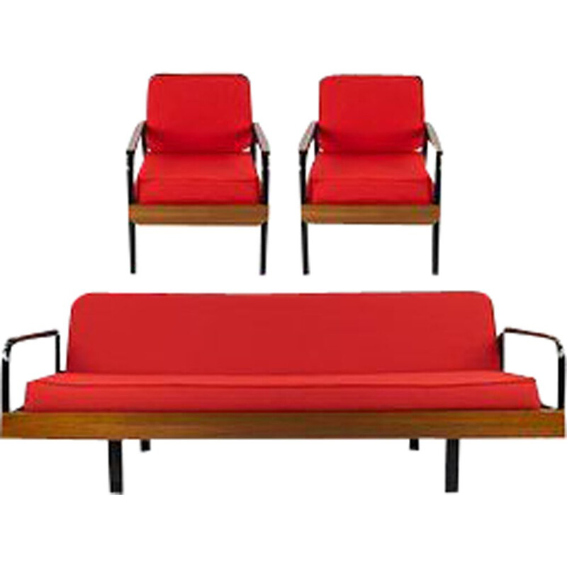 Set French Sofa and Armchairs mid century Iron and Red Canvas Prouve style, 1950s