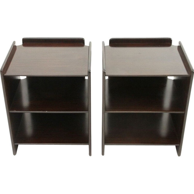 Pair of plywood Nightstands vintage by Sergio Asti and Sergio Favre for Poltronova, 1960