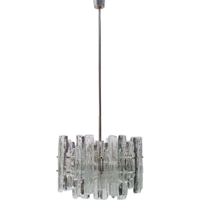 Ice Glass Chandelier from Kalmar, Mid-Century Austrian 1970s
