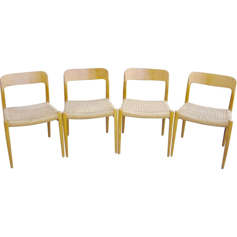 Set of 4 Vintage chairs by Nils O Moller Solid Oak 1950