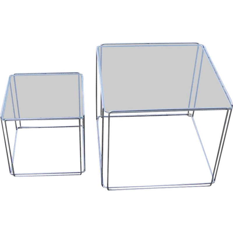 Pair of vintage coffee table in curved steel wire and chrome plated glass table top by Max Sauze