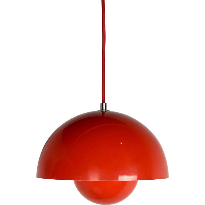 Red Flower Pot Pendant Lamp by Verner Panton for and Tradition