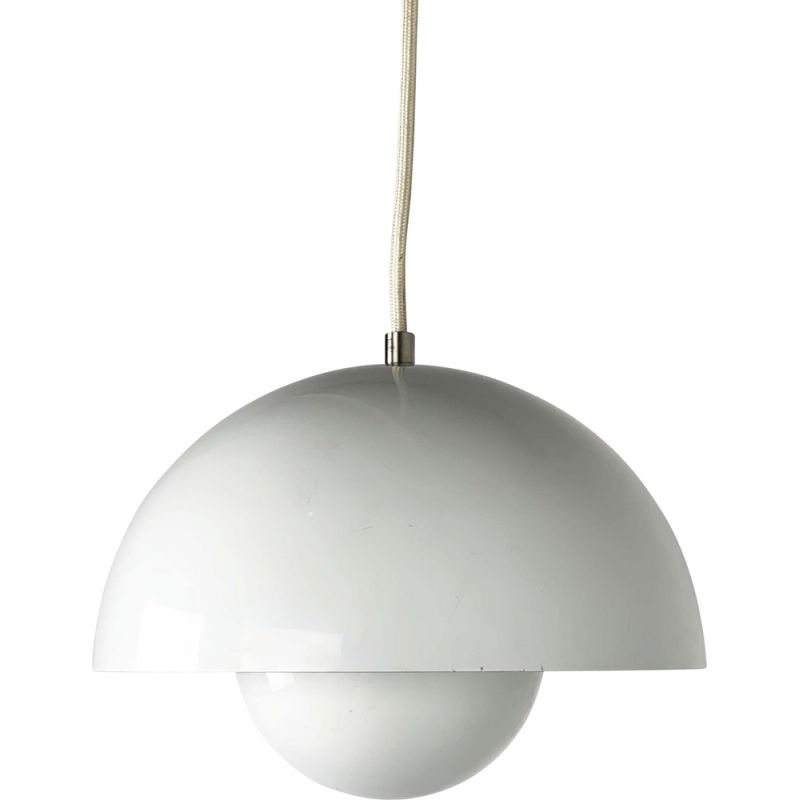 White Flower Pot Pendant Lamp by Verner Panton for and Tradition