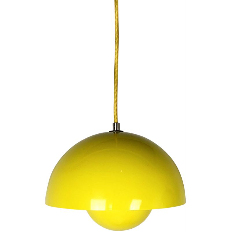 Yellow Flower Pot Pendant Lamp vintage by Verner Panton for and Tradition