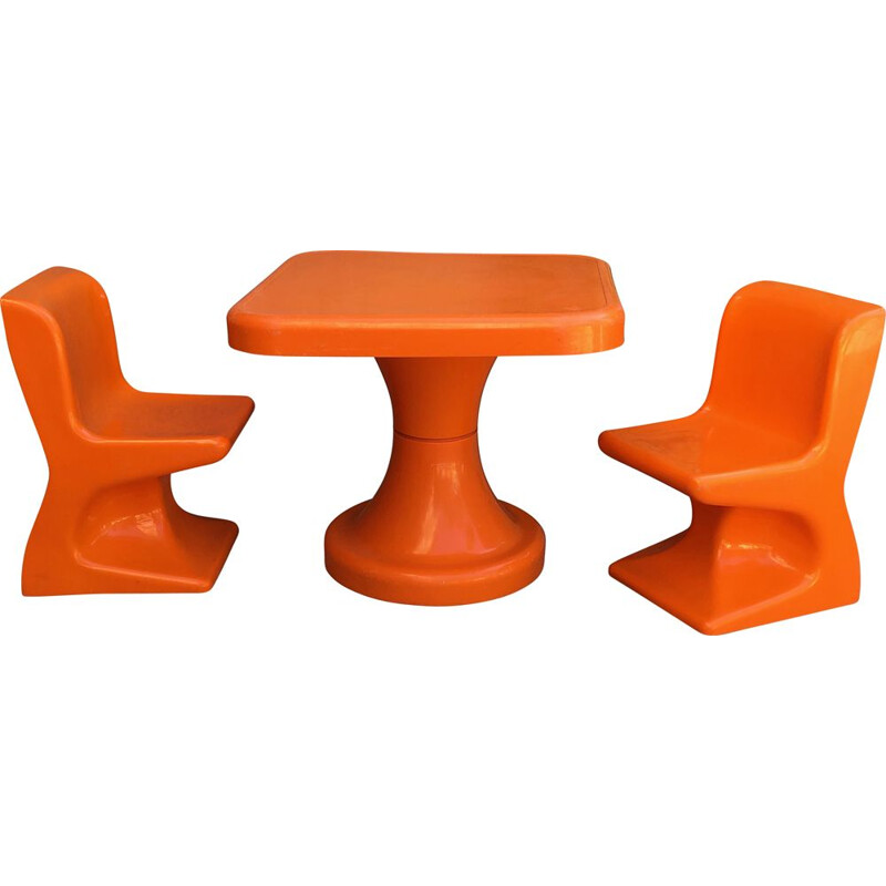 Chairs and table set Vintage for children by Patrick Gimgembre 1970