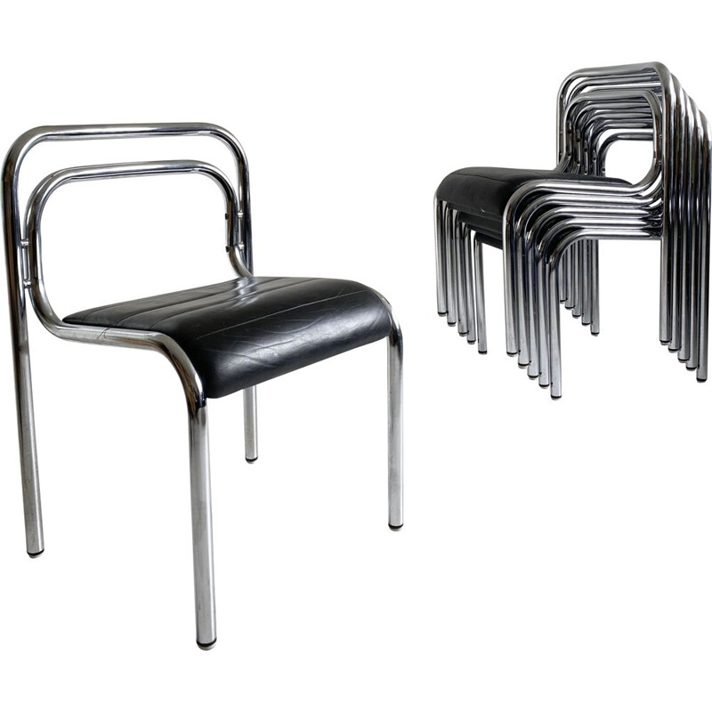 Set of 6 Dining Chairs Leather and Tubular Chrome T5 by Rodney Kinsman,1960