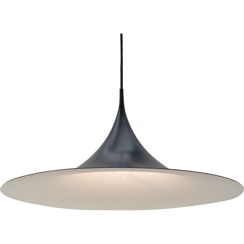 Large Black Semi Pendant Lamp vintage by Claus Bonderup and Torsten Thorup for Fog and Mørup, 1970s