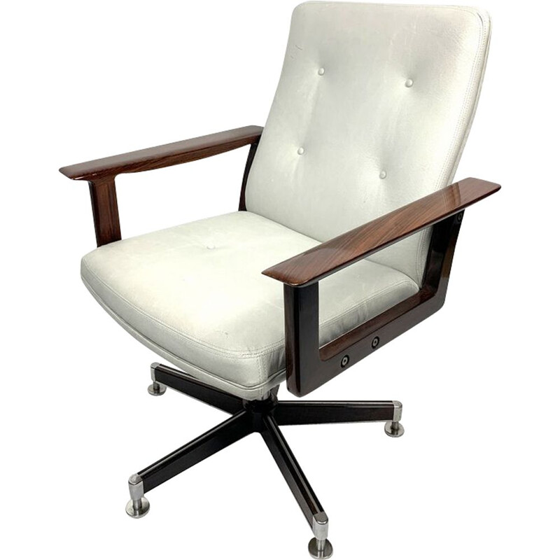 Office Armchair,Rosewood  in Leather by Arne Vodder, 1960s