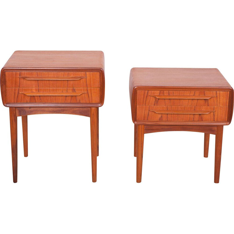Pair of Teak Nightstand by Johannes Andersen for CFC Silkeborg,Mid-Century Danish  1960s