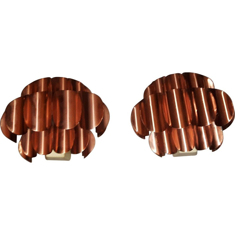 Pair of Wall Lights Copper vintage by Thorsten Orrling for Temde, 1960s