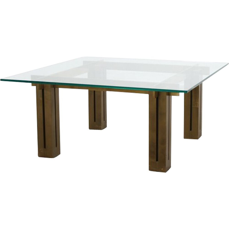 Large Coffee Table vintage Brassed Square from Skipper, Italian 1970s