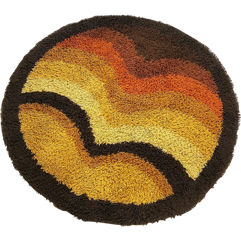 Carpet vintage Multi-Color Pop Art Panton High Pile Rya Rug Desso, Netherlands, 1970