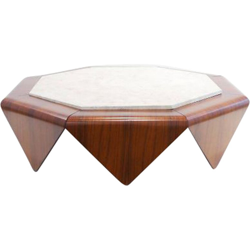 Petala vintage rosewood and marble coffee tableJorge Zalszupin 1960