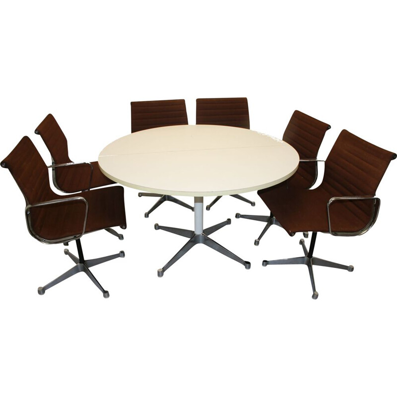 Set of Table with 6 Chairs EA106 by Charles and Ray Eames for Herman Miller