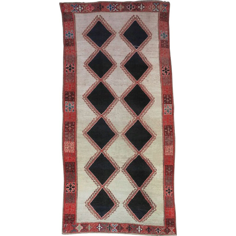 Middle Eastern Diamond Patterned Rug,Mid-Century 1950s