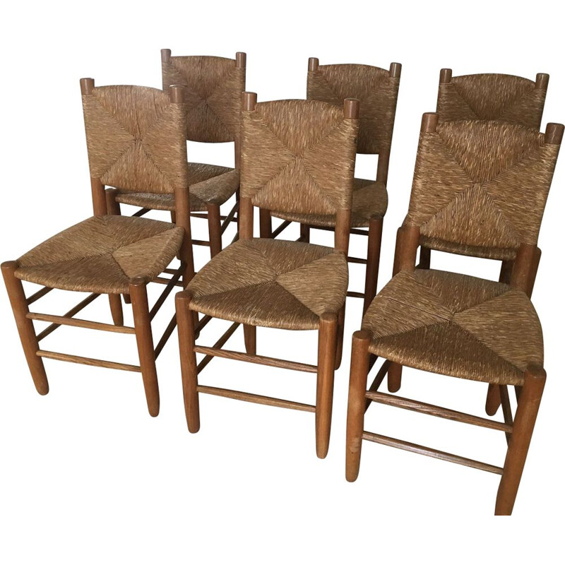 Set of 6 ashwood chairs by Charlotte Perriand 1939