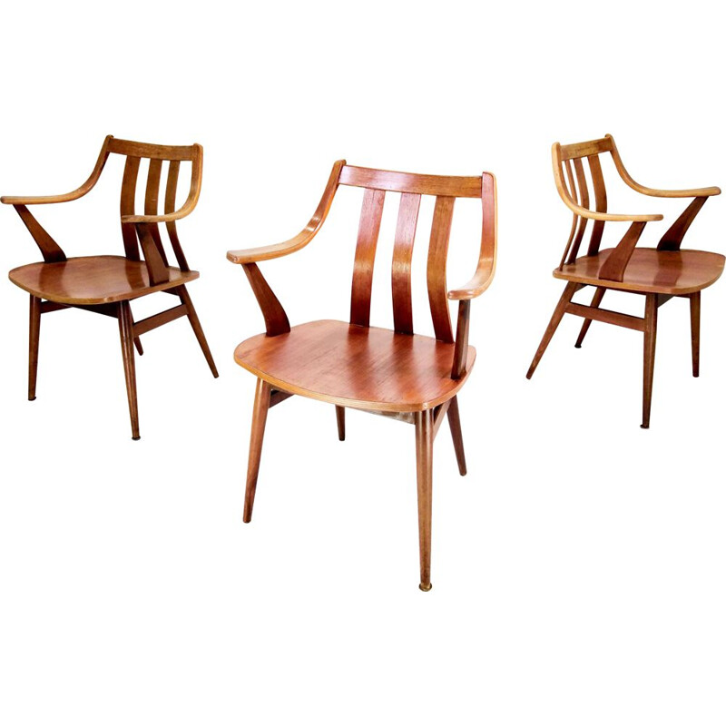 Suite of 3 vintage teak chairs by Pastoe, 1960