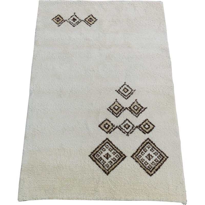 Carpet Vintage Beni Ourain Moroccan Wool Hand-Knotted