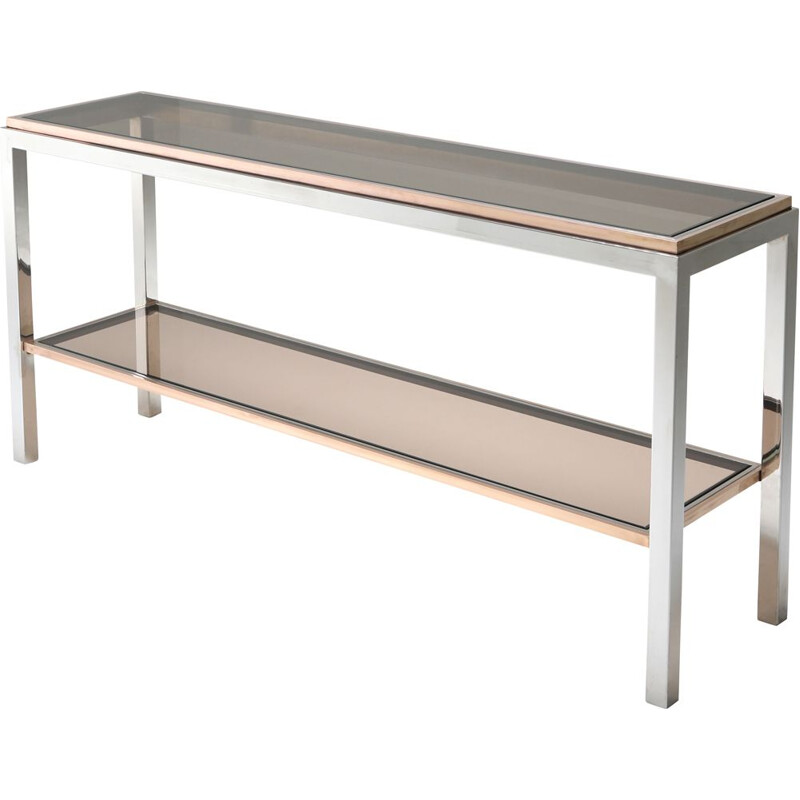 2-Tier Console Table vintage in Chrome and Brass