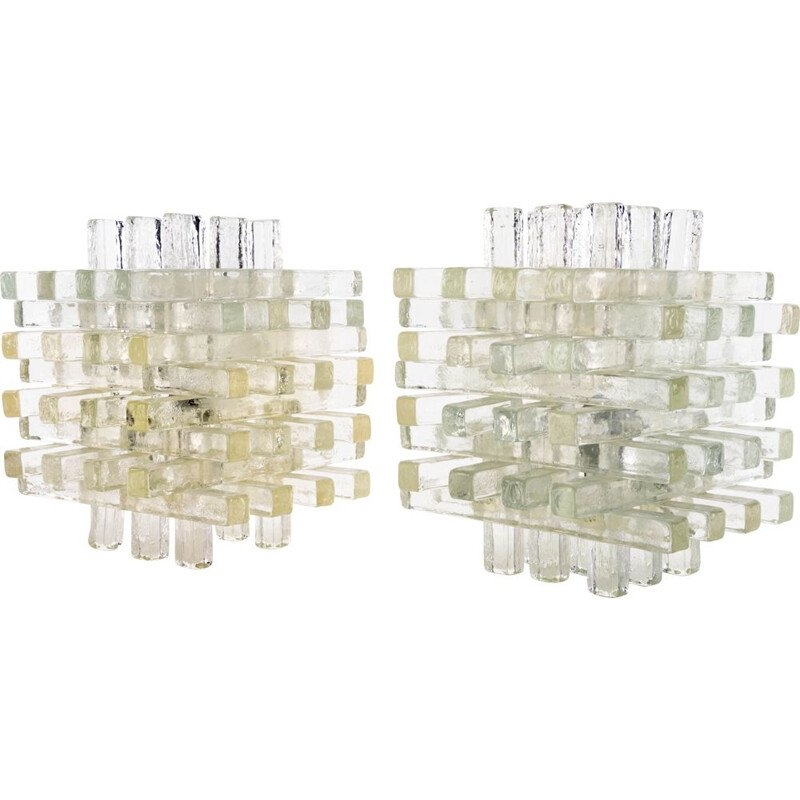Pair of  Glass Table Lamps Albano Poli Italian Modern Poyedre Lembo  Murano for Poliarte