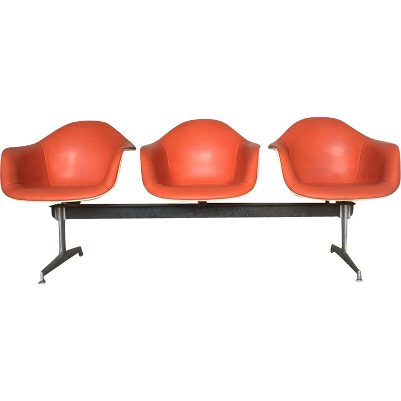 Herman Miller bench in fiberglass and imitation leather, Vintage Charles and Ray EAMES - 1960