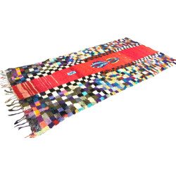 Very large and colourful Boucherouite rug with chequered pattern - 1980s