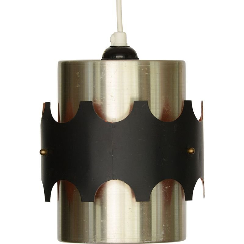 Pendant light vintage Brushed aluminum by Werner Schou for Coronell Electro. Denmark 1960s
