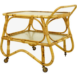 Rohe Noordwolde kitchen trolley in rattan and glass trays - 1960s