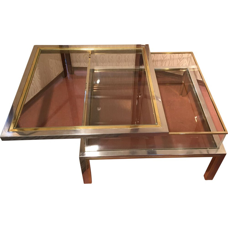 Vintage coffee table by Romeo Rega in chromed steel and gilded brass