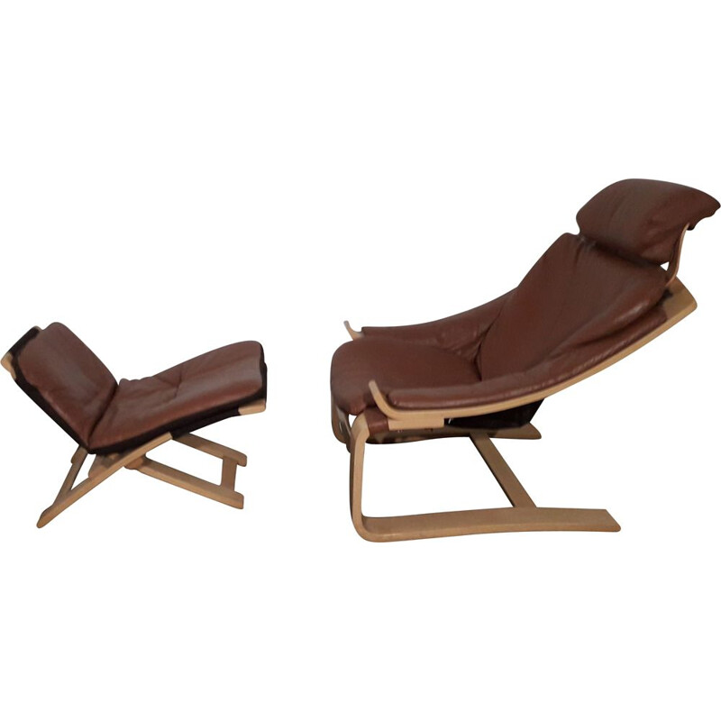 Vintage Kroken armchair by Åke Fribytter with ottoman 1970