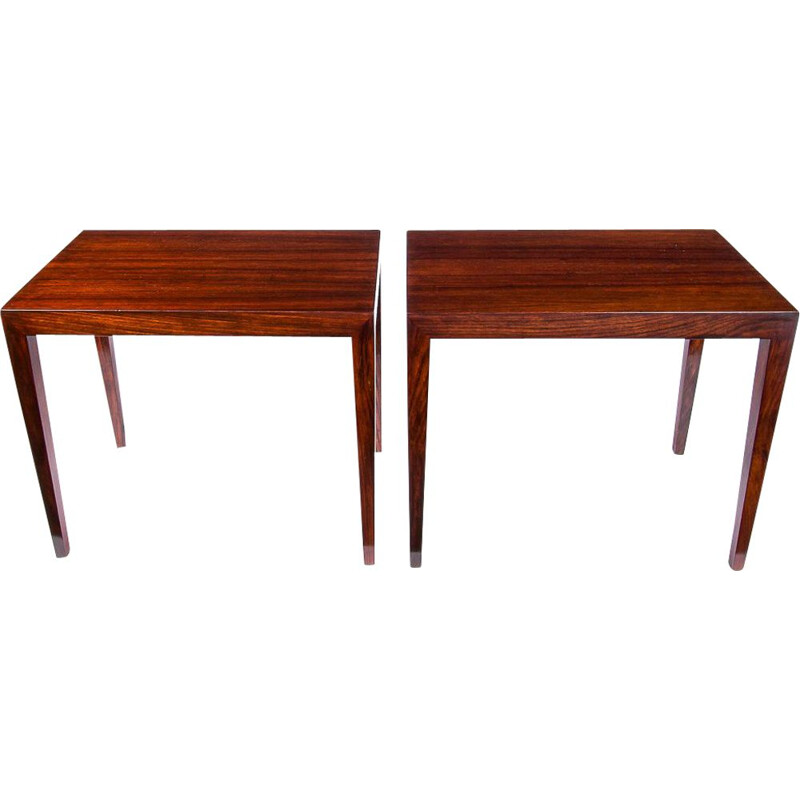 Pair of Coffee Tables vintage Rosewood by Severin Hansen For Haslev, Danish 1960s