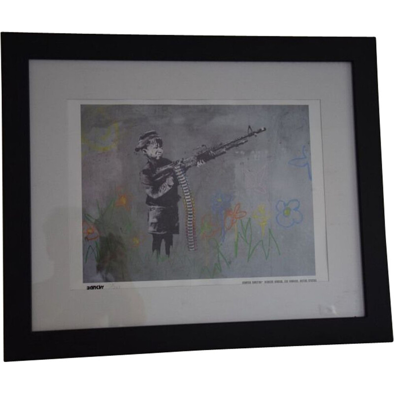 Vintage lithograph Banksy Crayon shooter 114300 graff street art pop