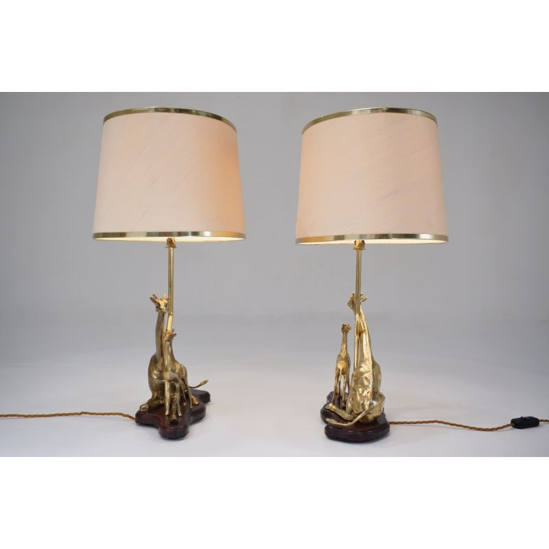 Pair of table lamps, vintage sculpture