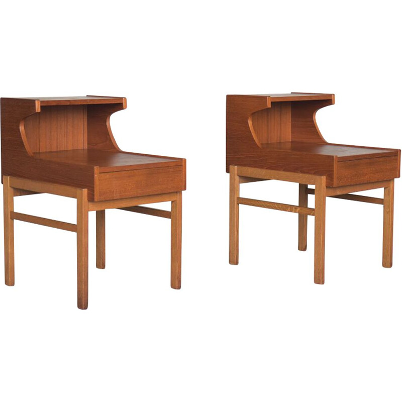 Pair of Mid-Century Teak Nightstands with Drawer, Swedish 1960s