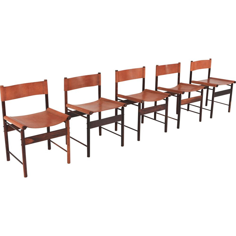 Set of 4 chairs vintage in jacaranda by Jorge Zalszupin 1955