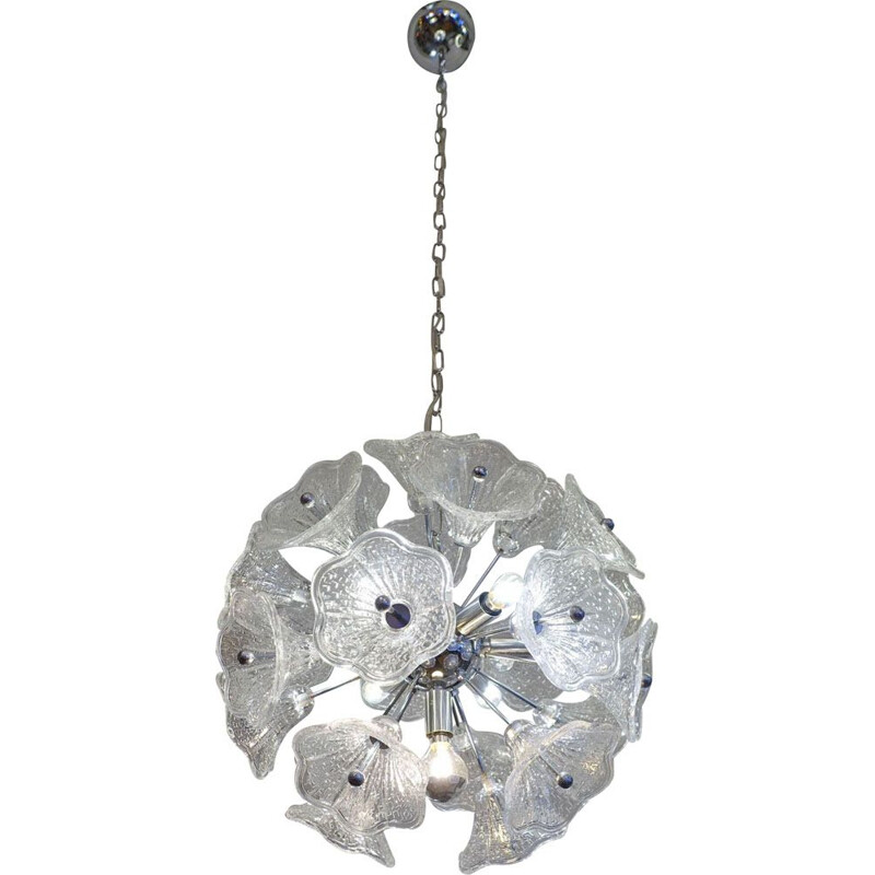 Paolo Venini Glass Flower Chromed Sputnik Chandelier for VeArt. 7 bulbs, 1960's