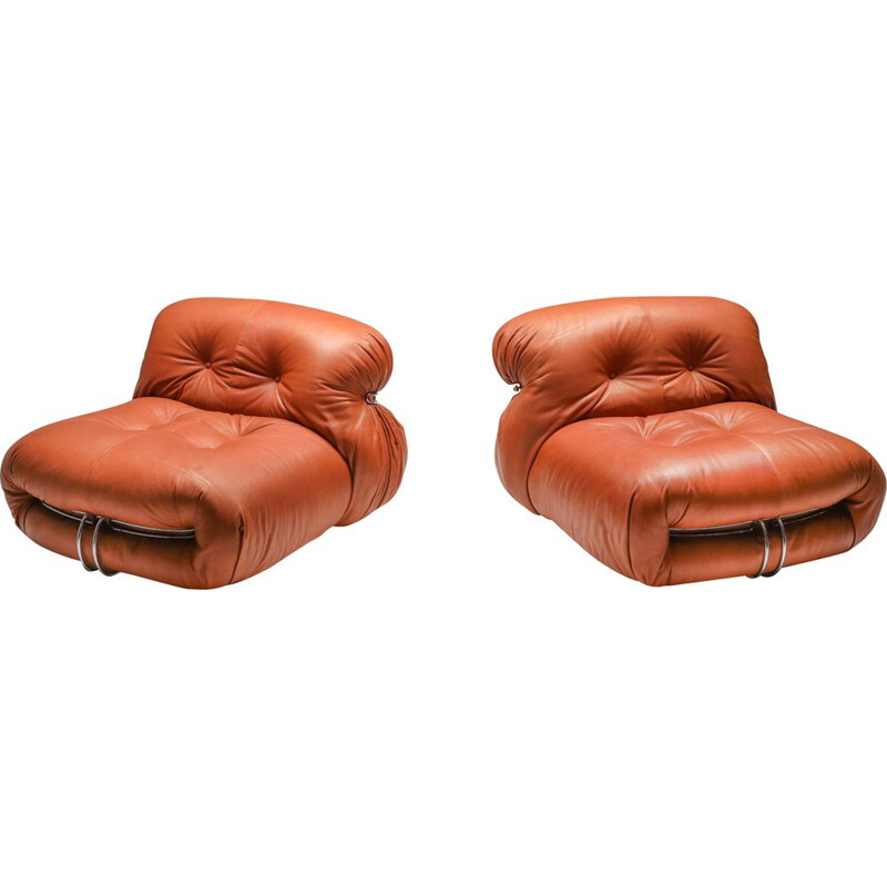 Pair of Lounge Chairs Cassina 'Soriana' by Afra and Tobia Scarpa 1970s