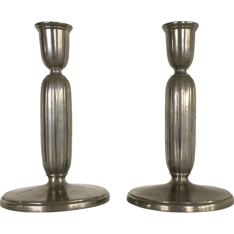 Pair of Art Deco Pewter Candlesticks by Just Andersen
