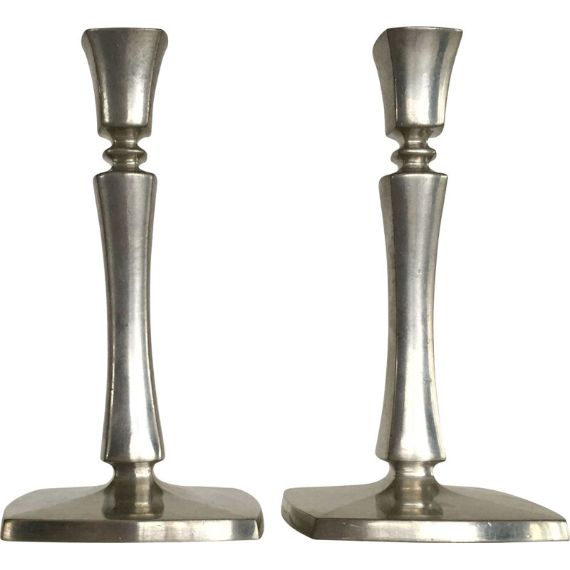 Pair of Art Deco vintage Pewter Candlesticks by Just Andersen