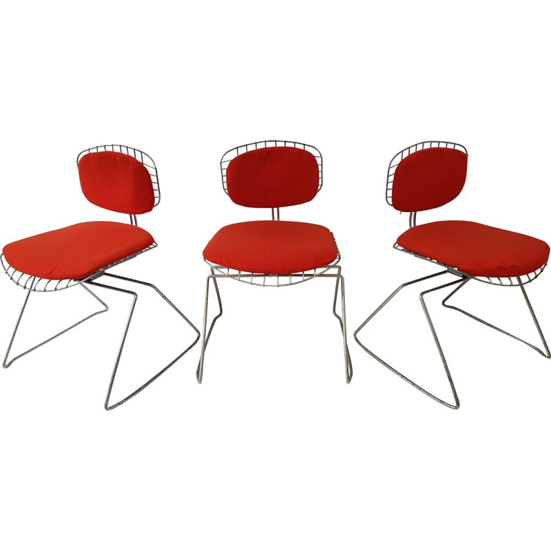 Suite of 3 vintage chairs model Traineau or Beaubourg by Michel Cadestin and Georges Laurent for Teda 1977