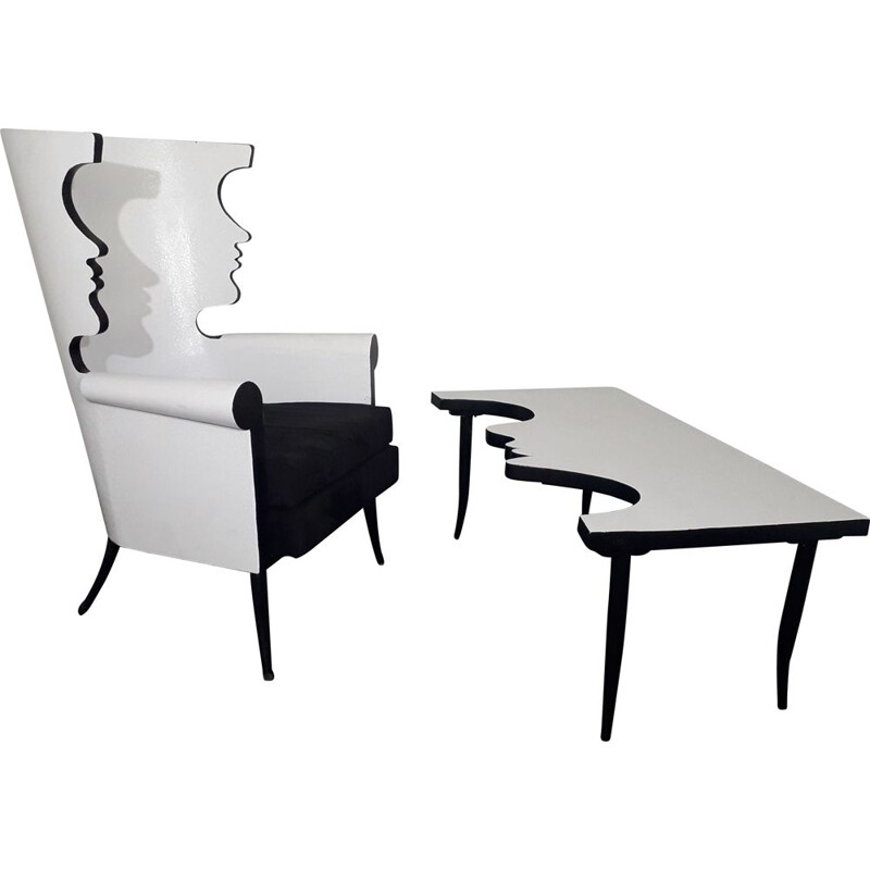 Vintage armchair and coffee table - Tribute to Jean Cocteau 1970