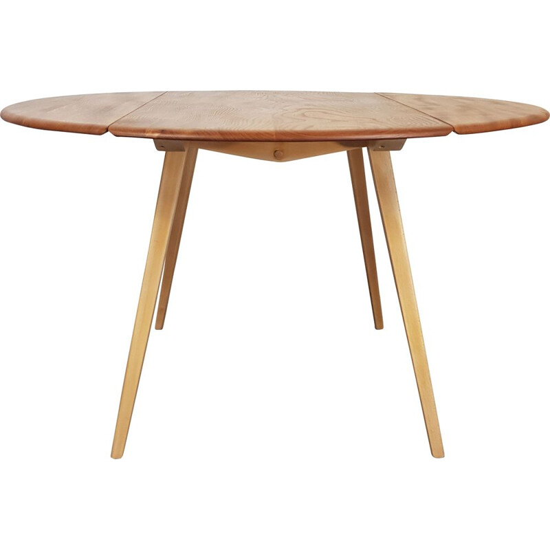 Vintage Dining Table, Ercol Round Drop Leaf 1960s