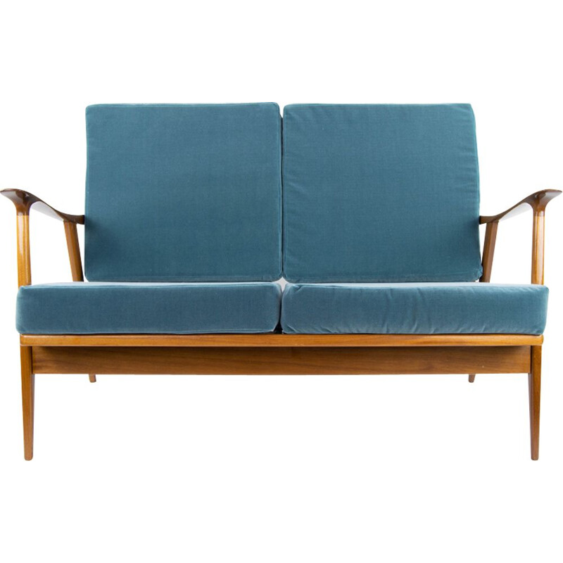 Mid Century Teak and Velvet Scandinavian Sofa by AG Barcelona, 1960